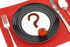 Frage über Nahrung Lizenzfreie Stockfotos