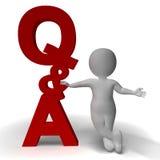 Frage-Antwort-Q&A-Zeichen und Charakter 3d als Symbol für zusätzl. Lizenzfreie Stockbilder
