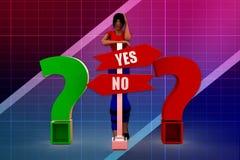 Frage-Antwortillustration der Frau 3D Lizenzfreie Stockfotografie