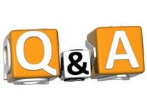 Frage 3D u. Antwort auf weißem Hintergrund Lizenzfreies Stockbild