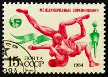 Frage der weltweiten Konkurrenzen Friendship-84 zeigt Ringkampf, circa 1984 Lizenzfreie Stockfotografie