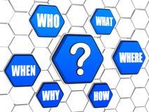 Frage-Kennzeichen und Frageworte in den blauen Hexagonen Stockfotos