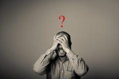 Frage Mann in den Gedanken Lizenzfreie Stockbilder