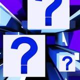Frage Mark On Cubes Shows Uncertainty Lizenzfreie Stockbilder