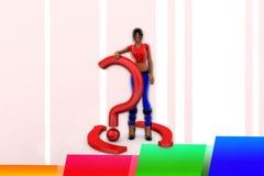 Frage Mark Illustration der Frauen-3d Stockbilder