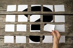Frage oder Frage - Lösungs- oder Antwortkonzept Stockfoto