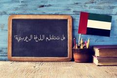 Frage sprechen Sie Arabisch? geschrieben auf Arabisch Lizenzfreie Stockfotos