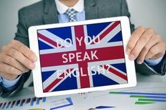 Frage sprechen Sie Englisch? in einem Tablet-Computer lizenzfreie stockfotografie