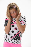 Fragenüberraschtes junges Mädchen Stockbilder