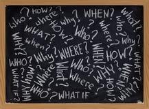 Fragen über Tafel Stockfoto