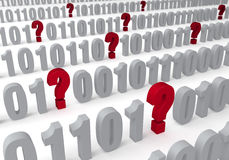 Fragen in den Daten Stockfoto