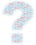 Fragen die was wo wenn Wörter Lizenzfreie Stockfotos