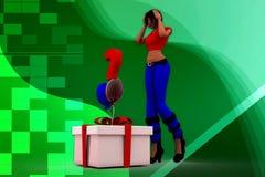 Fragen-Kasten llustration der Frau 3D Stockbilder