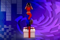 Fragen-Kastenillustration der Frau 3D Stockbilder