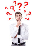 Fragen runden einen Kopf Stockfotografie