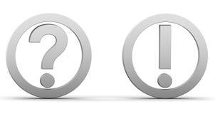 Fragen Sie Ausrufsmarkierungen Stockbild
