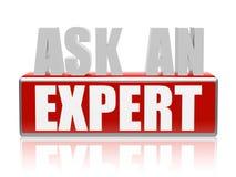Fragen Sie einen Experten in den Buchstaben 3d und blockieren Sie Stockbild
