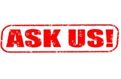 Fragen Sie uns! Stempel Stockbild