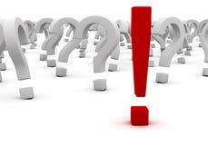 Fragen und Ausrufszeichen Stockfotografie