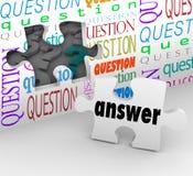 Fragen-Wand-Puzzlespiel-Stück-Antwort-komplettes Verständnis Lizenzfreie Stockbilder