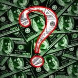 Fragensymbol auf Geldhintergrund Stockfotografie