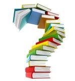 Fragensymbol von farbigen Büchern Stockbilder
