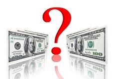 Fragensymbol zwischen Dollarbanknoten Lizenzfreie Stockfotografie