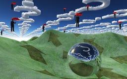 Fragenwolken über Landschaft Stockfotografie