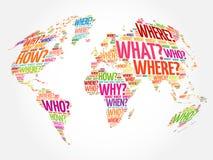Fragewort-Weltkarte in der Typografie Stockbilder