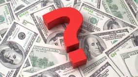 Fragezeichen auf dem Dollarhintergrund Stockfotos