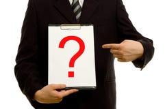 Fragezeichen auf Klemmbrett Lizenzfreie Stockfotos