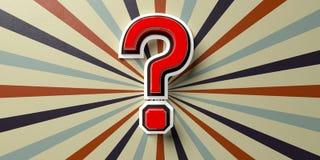 Fragezeichen auf Zirkusweinlese-Wandhintergrund Abbildung 3D Stockfotografie