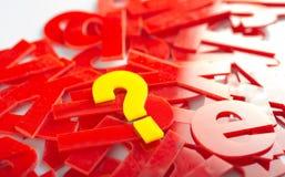 Fragezeichen-Buchstabenahaufnahme Stockfotografie