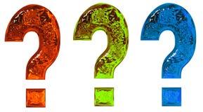 Fragezeichen des farbigen strukturierten Glases Stockfotografie