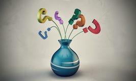 Fragezeichen in einem Vase Stockbilder