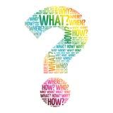 Fragezeichen, Frageworte Lizenzfreie Stockfotos