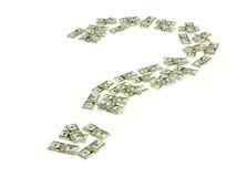 Fragezeichen gemacht von den Dollarscheinen stock abbildung
