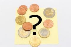 Fragezeichen hinter dem Geld Stockbilder
