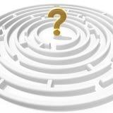 Fragezeichen im Labyrinth Stockbild