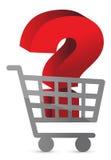 Fragezeichen innerhalb eines Warenkorbes Stockbilder