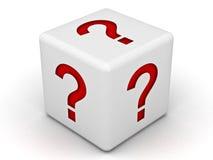 Fragezeichen-Kasten Stockfoto