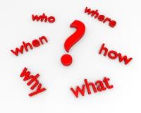 Fragezeichen mit fünf w Stockfotografie