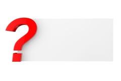 Fragezeichen mit leerem Papier Stockfoto