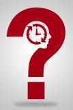 Fragezeichen mit Uhr Lizenzfreie Stockfotos