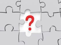 Fragezeichen-Puzzlespiel Konzept-Grafik Stockfotografie