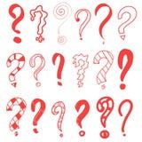 Fragezeichen rot Grafisches FAQ, bitten Vektorfrage Lokalisiertes Symbol Auszug Handgezogenes gesetztes Gekritzel-Fragezeichen lizenzfreie abbildung