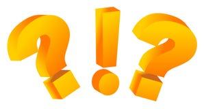 Fragezeichen und Ausrufszeichen Stockbild