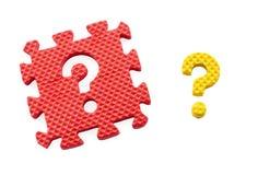 Fragezeichenpuzzlespiel Stockfoto