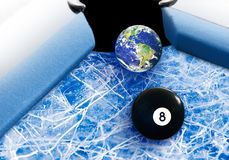 Fragil Earth Behind The Global Eight Ball ~ Concep. Tual Earth On Thin Ice ~ Global Environment And Ecology Concept Royalty Free Stock Photos