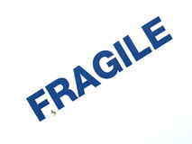 Fragile. Warning sign on a cardboard box for shipping Stock Photography